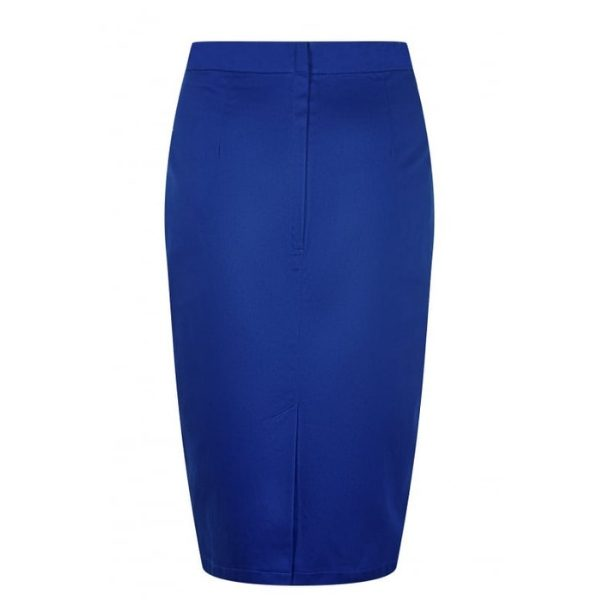 rear view blue high waisted fited pencil skirt vent split