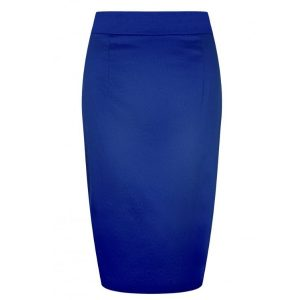 Front view blue high waisted fitted pencil skirt