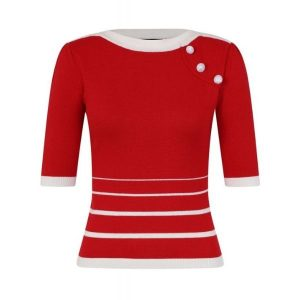 Red Boat neck stripe jumper
