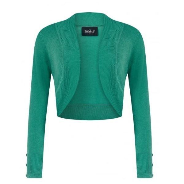 front view green long sleeve crop knit bolero