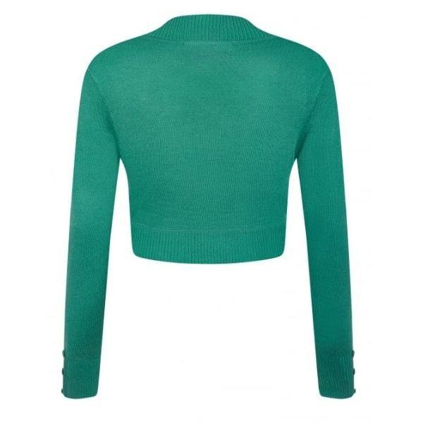 rear view green long sleeve crop knit bolero