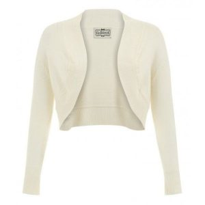 Front view ivory long sleeve crop knit bolero