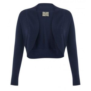 front view of navy long sleeve crop knit bolero