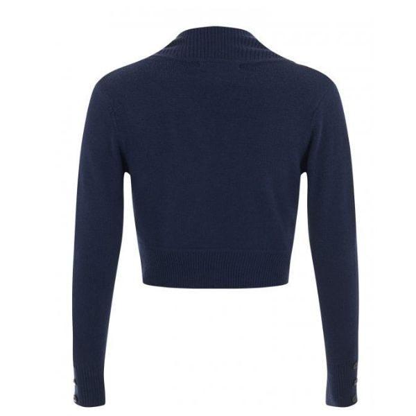 rear view navy long sleeve crop knit bolero