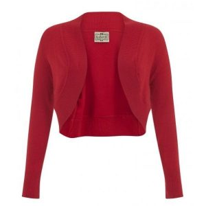 front view red crop long sleeve knit bolero