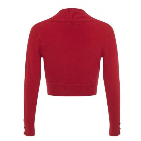 Back view red crop knit long sleeve bolero