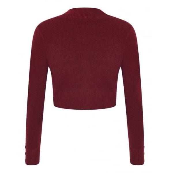 rear wine view long sleeve crop knit bolero