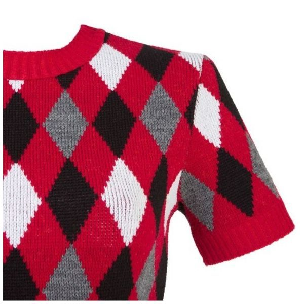 Red and black diamond jumper