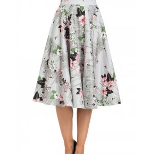 Grey floral full circle skirt