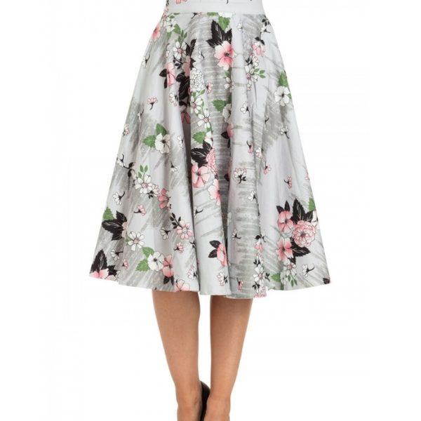 Grey floral full circle skirt