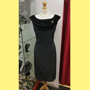 Black scoop, V neck wiggle dress
