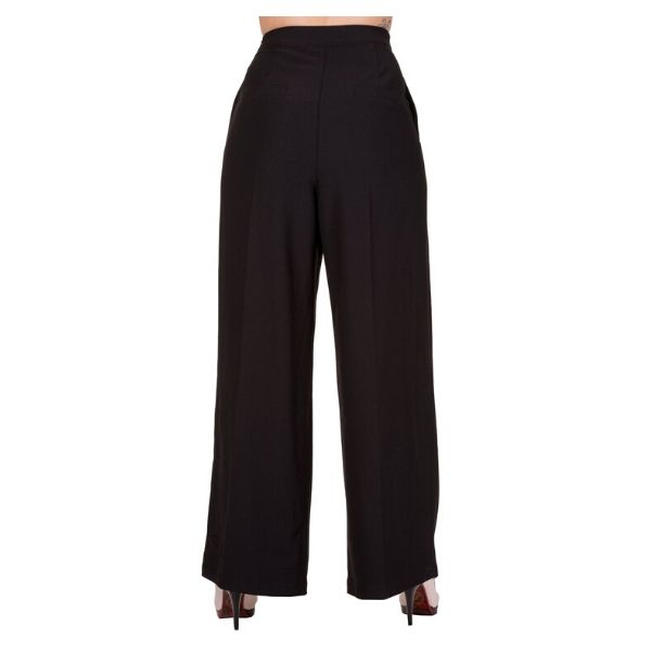 Black High waist trousers with button detail