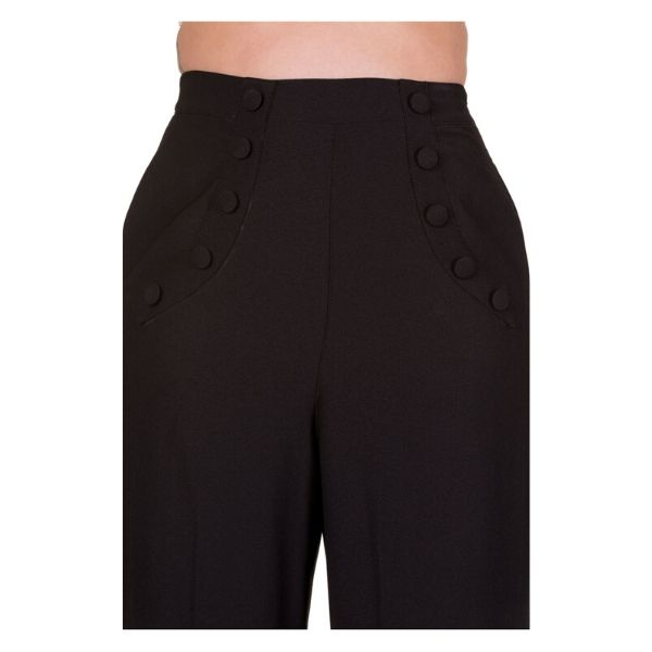 Close up of bitton detail on the black high waist trousers