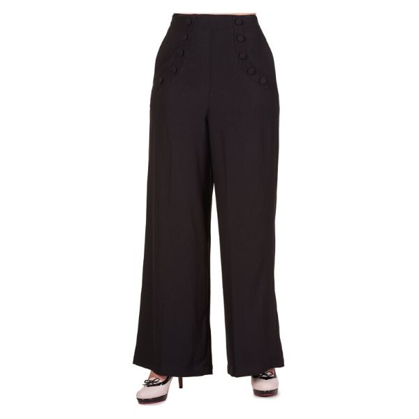 Black high waist trouser with button detailing on the front