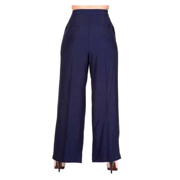 Navy high waist trosers with button detailing on the front, rear view