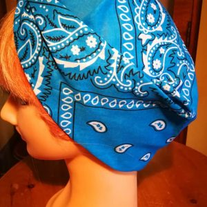blue bandana head scarf side view