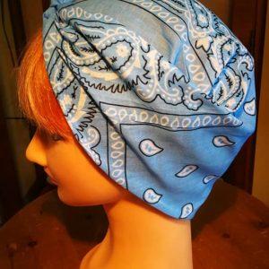 Light blue bandana head scarf side view