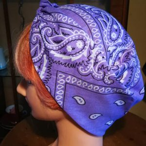 purple bandana style head scarf side view