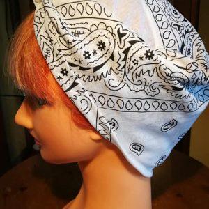 white bandana style head scarf side view