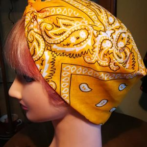 yellow bandana style head scarf side view