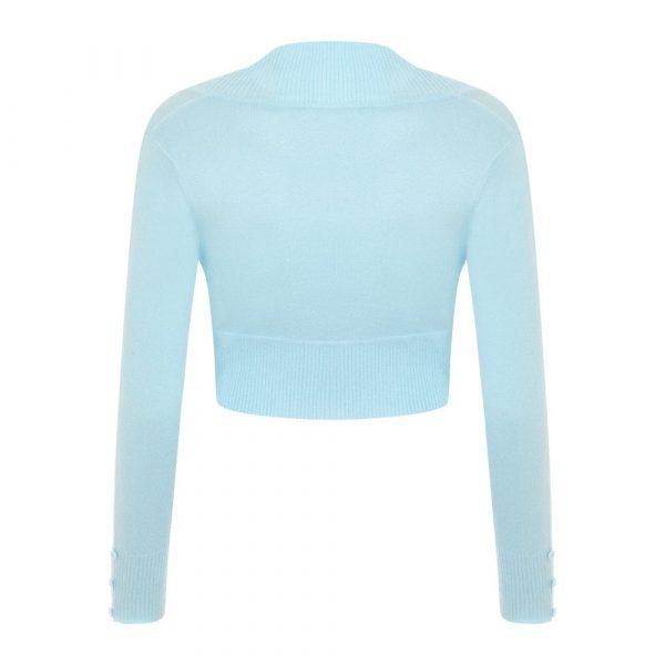 light blue long sleeve crop knit bolero