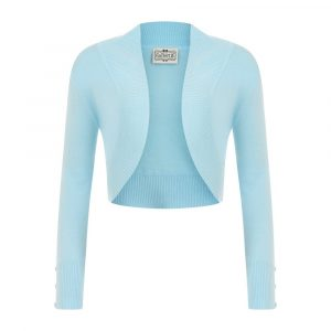 front view long sleeve crop knit bolero
