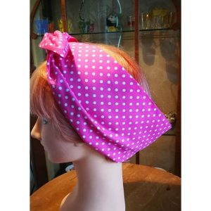 pink polka/pink wired hair band side view