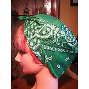 Green bamdana style head scarf side view