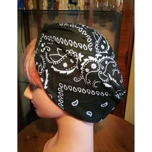 Olive green bandana style head scarf side view