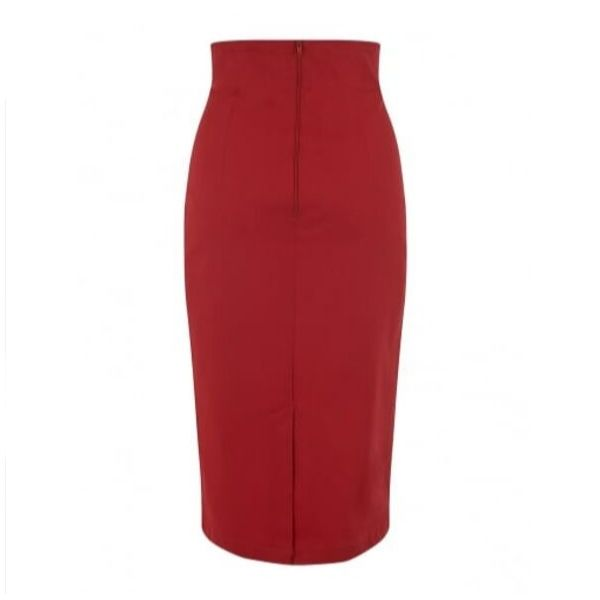 back view of high waisted red pencil skirt