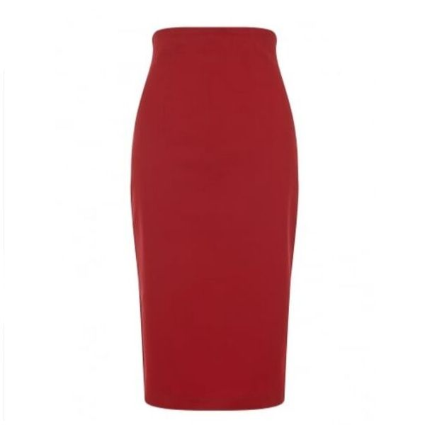 front view red high waisted cotton pencil skirt