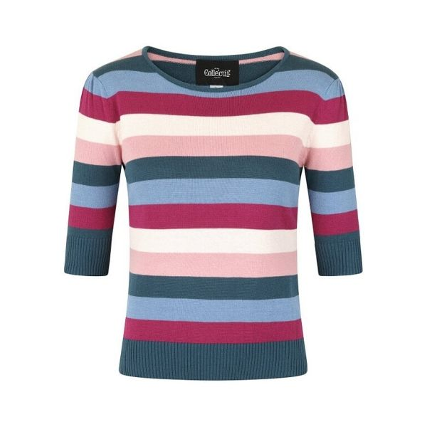 front view of half length sleeve wine pink navy and light blue horizontal stripe round neck knit jumper