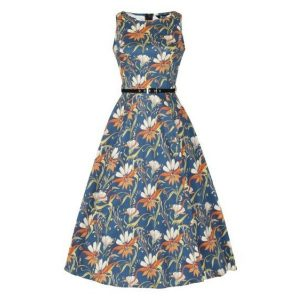 Front view classic 50s style sleeveless bodice belted waist full flaring below knee dress