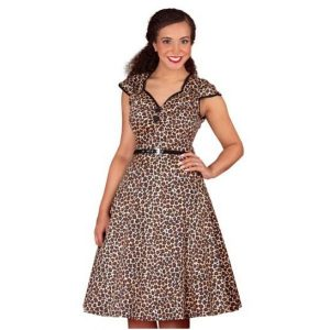 Front view leopard sweatheart neckline contrasting piping flared skirt