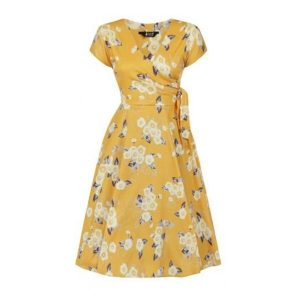 Front view v neck tie waist swing dress in yellow with white blossom flowers
