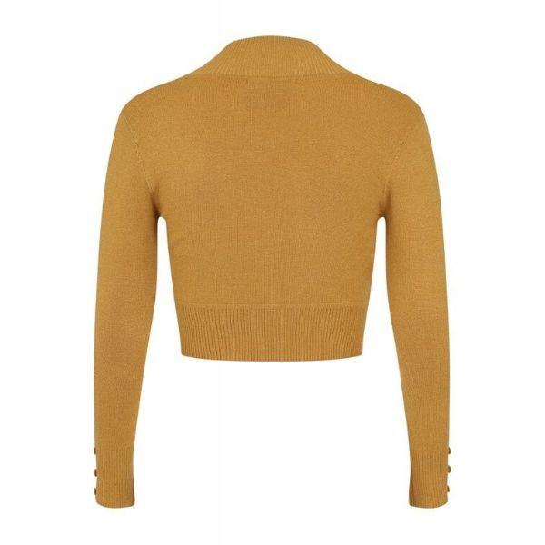 rear view mustard long sleeve crop knit bolero