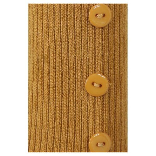 close up button detail on mustard crop knit bolero