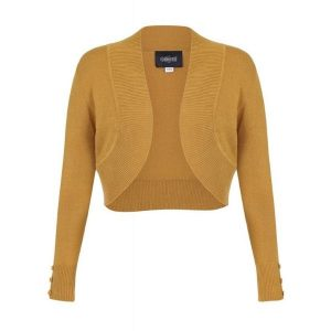 front view mustard long sleeve cop knit bolero