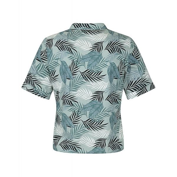 Green grey palm print cropped sleeved cotton shirt back view