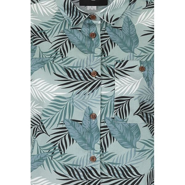 Green grey palm print cropped sleeved cotton shirt close up view