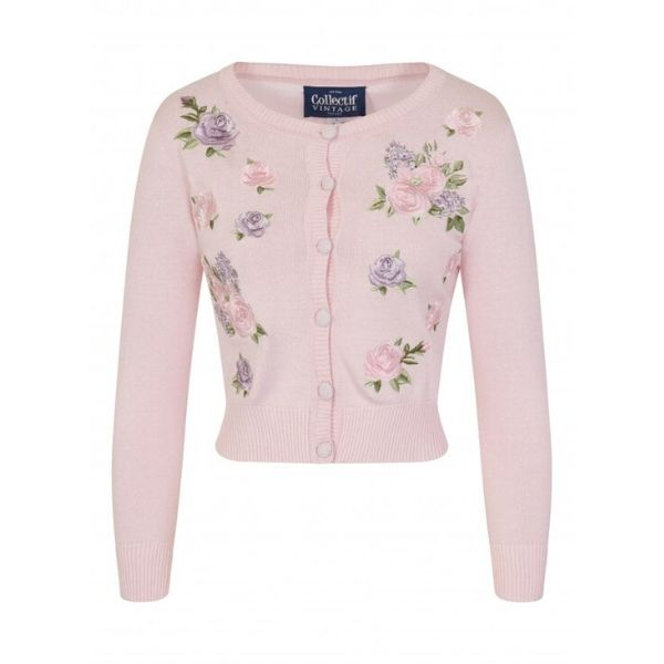 front view of button front pink ling sleeve cardigan embriodered lilac roses