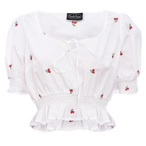 front view white cropped gypsy style short sleeve top with smalll embriodered cherries