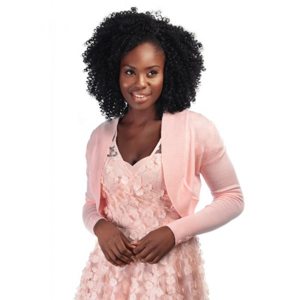model wearing pink long sleeve crop knit bolero