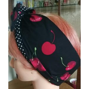 side view black large red cherry contrast black white polka dot wired hairband