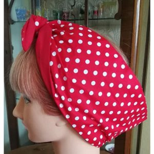 side view red white polks dot contrast red wired hairband