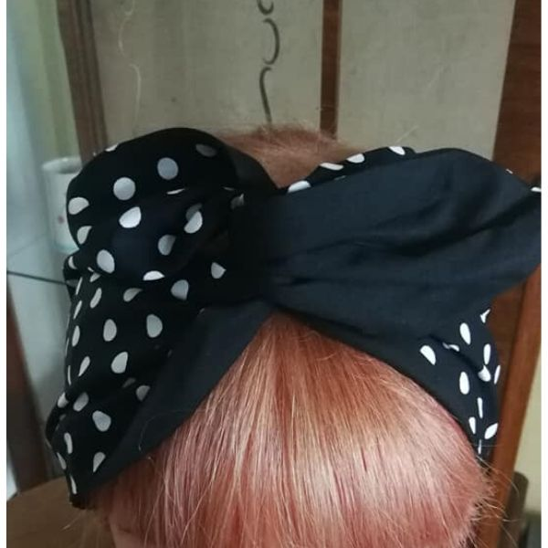 top view black white polka dot contrast blackwired hairband