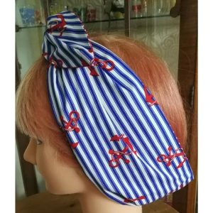 side view blue stripe red anchor contrast red white polka wired hair ban
