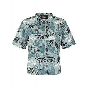Green grey palm print cropped sleeved cotton shirt front view
