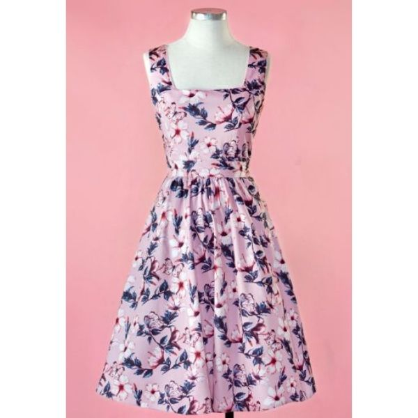front view pink with blue butterflies square neck sleeveless swing dress