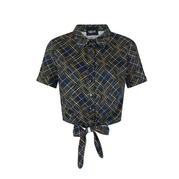 Navy with yellow white cross hatching button up tie front short sleeved collar shirt